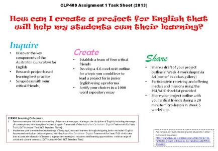CLP409 2013 Assignment 1 Task Sheet