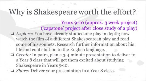 Shakespeare PBL concept - by Kelli