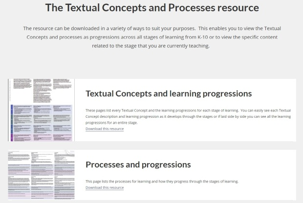 English Textual Concepts - 'The Textual Concepts and Processes resource'